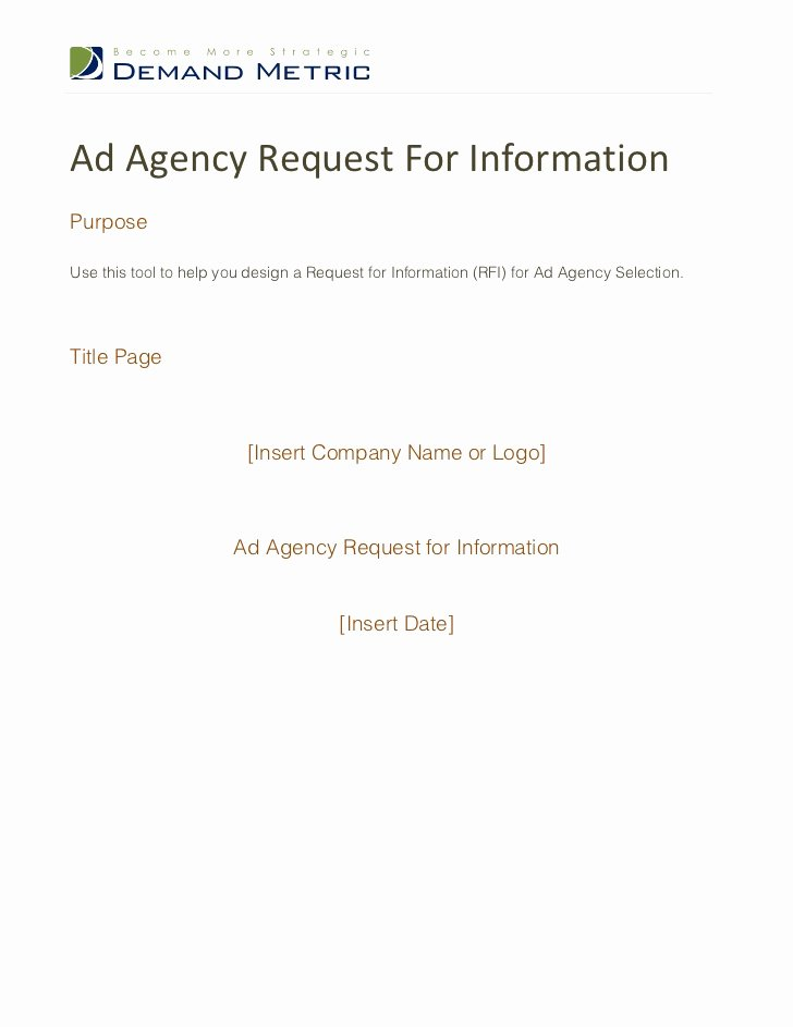 Request for Information Template Elegant Ad Agency Rfi Template