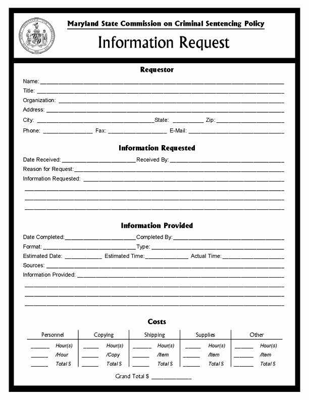 Request for Information Template Lovely Information Request form Msccsp