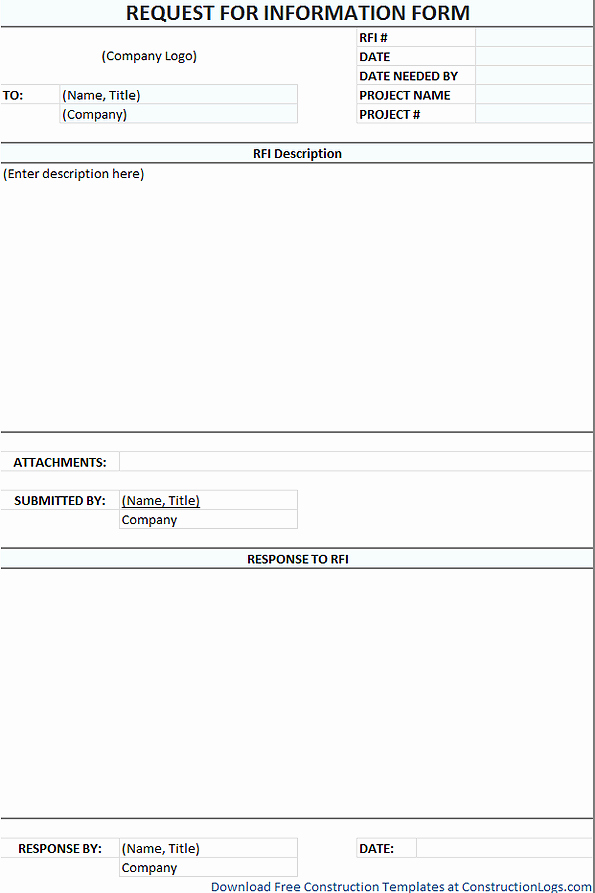 Request for Information Template Luxury Rfi form Template