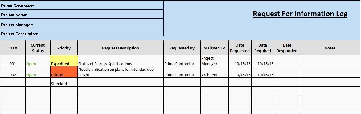 Request for Information Template Unique Free Construction Project Management Templates In Excel