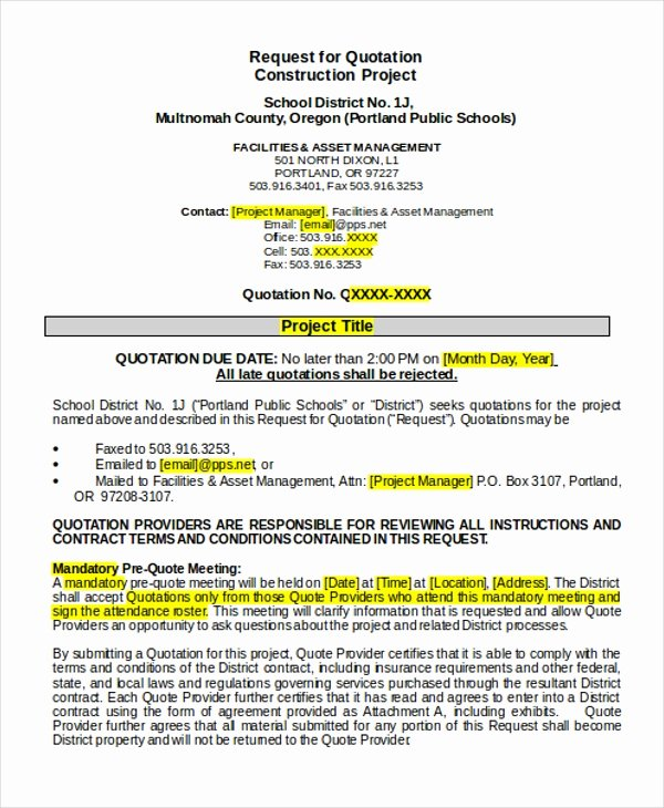 Request for Quotation Template Awesome 17 Quotation Templates In Doc