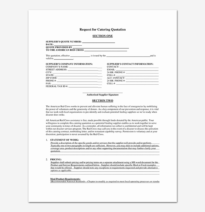Request for Quotation Template Beautiful Catering Quotation Template 15 Samples & formats
