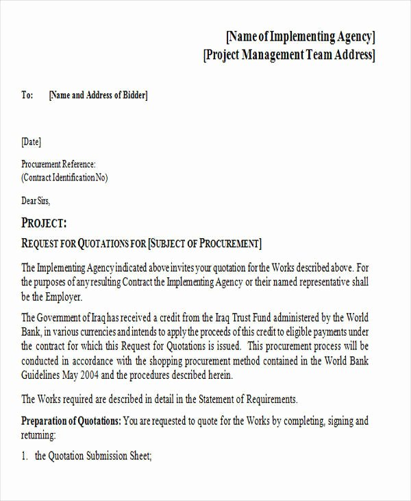 Request for Quotation Template Fresh 11 Sample Quotation Letters In Doc