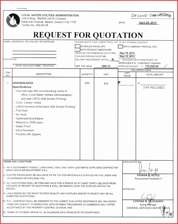 Request for Quotation Template Fresh Price Quotation Template format In Word – Rightarrow