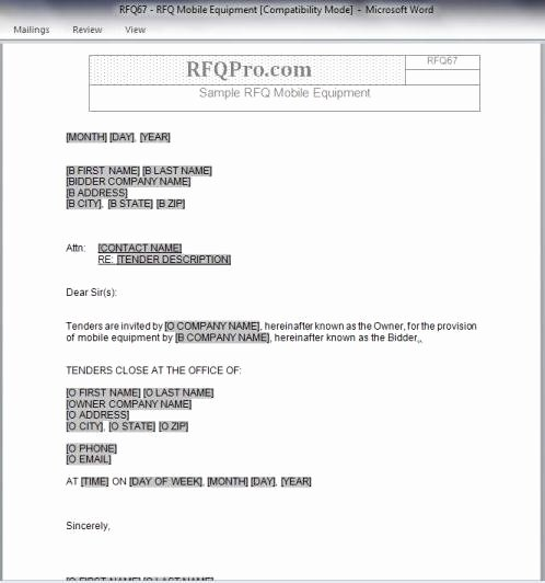 Request for Quotation Template Inspirational Rfq Templates Rfp Templates