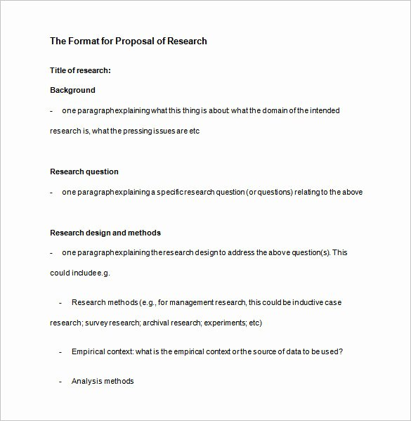 Research Proposal Outline Template Fresh Research Proposal Templates 17 Free Samples Examples