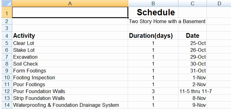Residential Construction Schedule Template Lovely Residential Construction Schedule Template Success