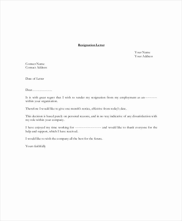 Resignation Letter Template Pdf Awesome 6 Resignation Letter with 30 Day Notice Template Pdf