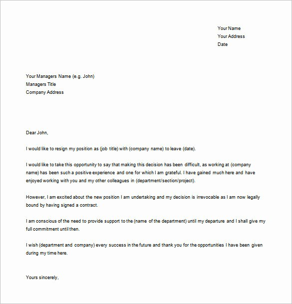 Resignation Letter Template Pdf Beautiful Simple Resignation Letter Template – 15 Free Word Excel