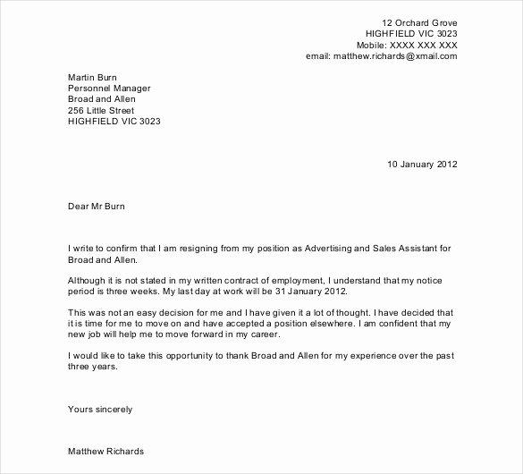 Resignation Letter Template Pdf Elegant 27 Resignation Letter Templates Free Word Excel Pdf