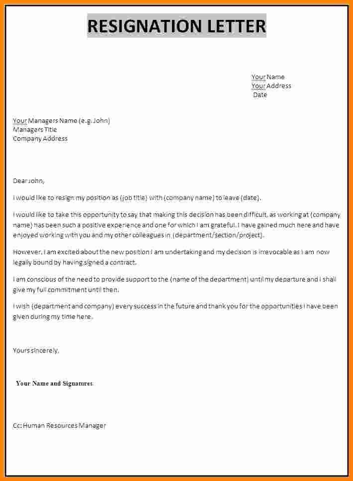 Resignation Letter Template Pdf Fresh Professional Resignation Letter formatpdf Write College