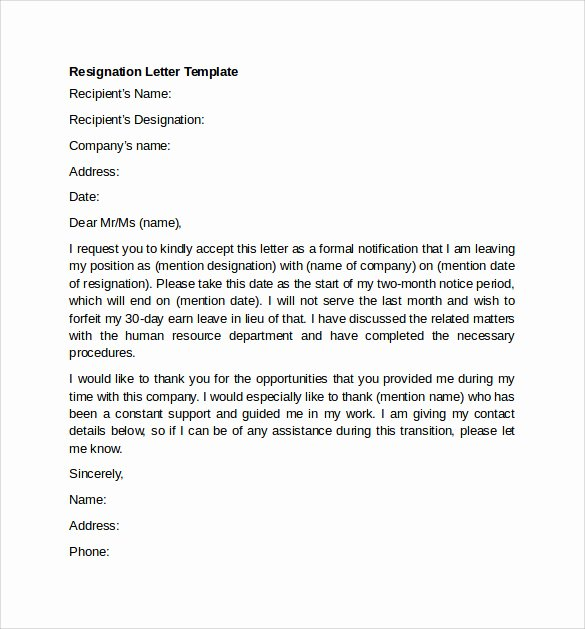 Resignation Letter Template Pdf Fresh Sample Resignation Letter Example 10 Free Documents