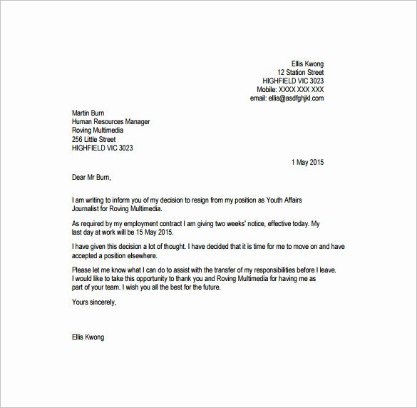 Resignation Letter Template Pdf Lovely Professional Resignation Letter Templates 12 Free Word