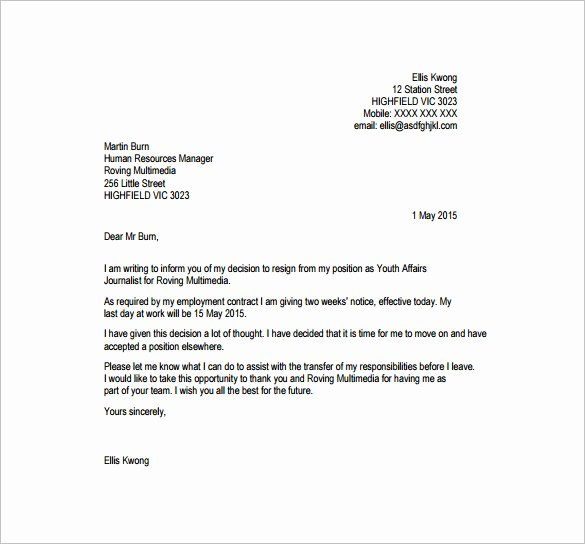 Resignation Letter Template Pdf New 21 Example Of Resignation Letter Templates Free Sample