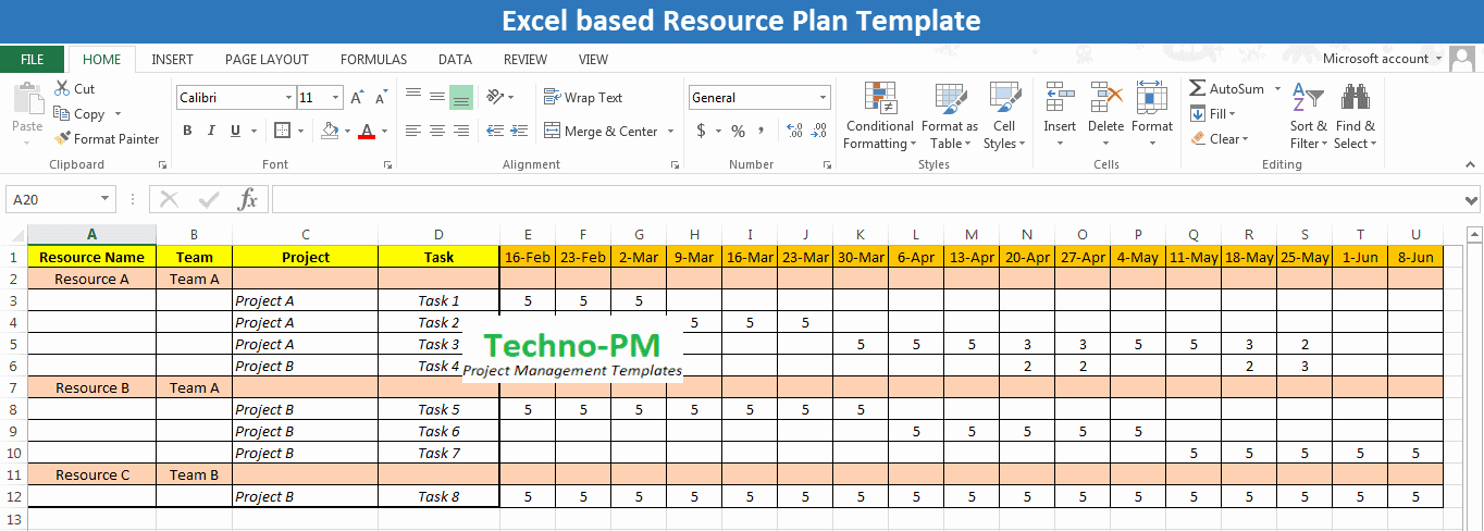 Resource Management Excel Template Awesome Excel Based Resource Plan Template Free Download Project