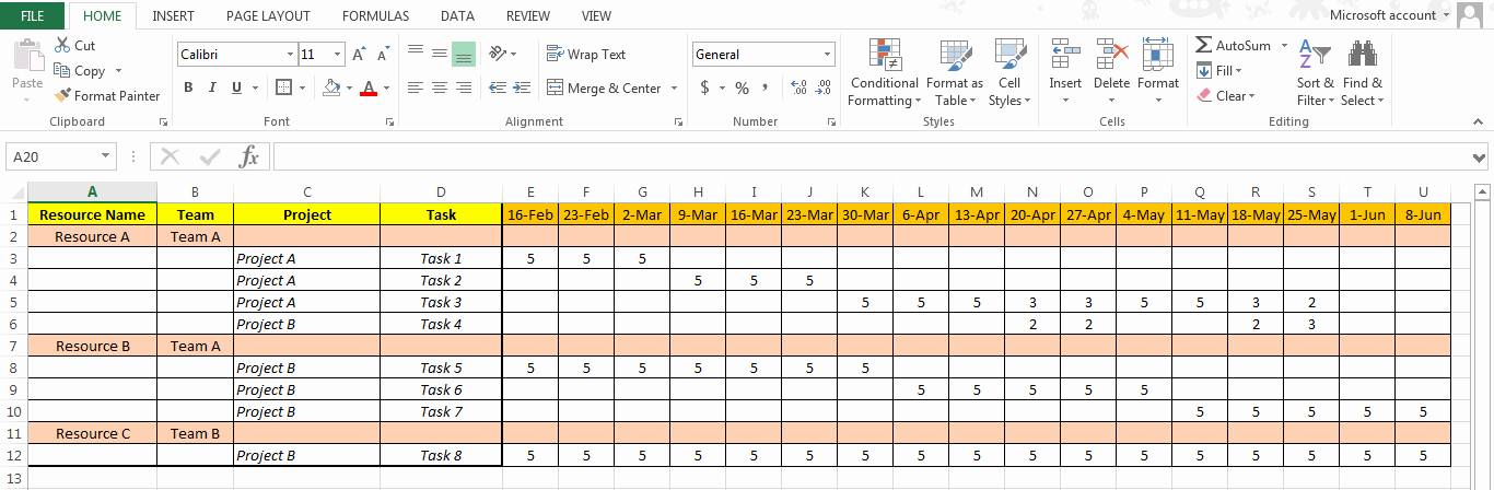 Resource Management Excel Template Best Of Excel Based Resource Plan Template Free Free Project