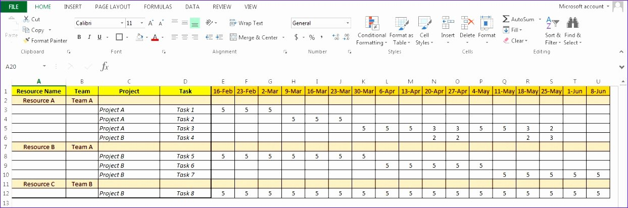 Resource Management Excel Template Fresh 8 Resource forecasting Excel Template Exceltemplates