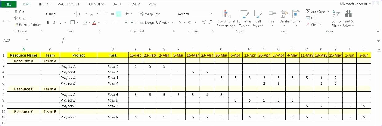 Resource Management Excel Template Luxury Project Resource Management Excel Template – Flybymedia