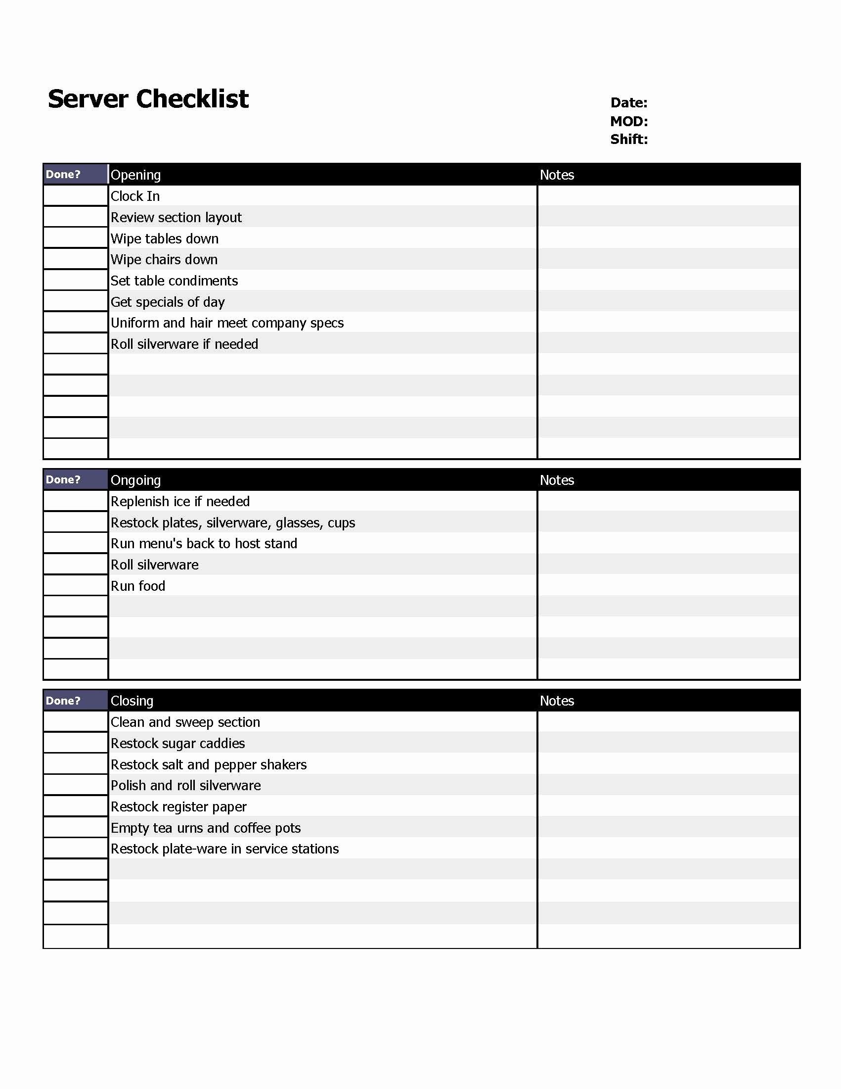 Restaurant Cleaning Checklist Template New Restaurant Server Checklist form