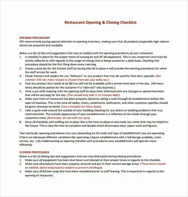 Restaurant Closing Checklist Template Best Of 7 Restaurant Checklist Samples & Templates – Pdf Word