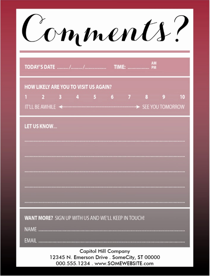 Restaurant Comment Card Template Lovely 12 Useful Restaurant Review Card Templates & Designs