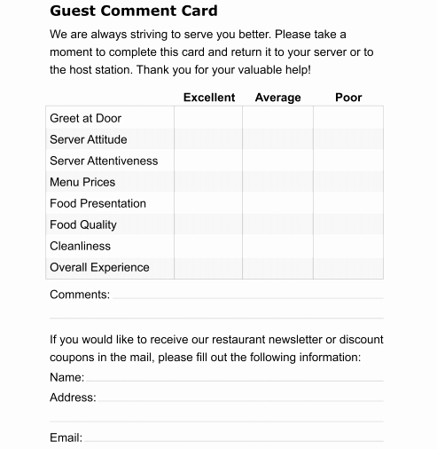 Restaurant Comment Card Template New Restaurant Ment Card Template
