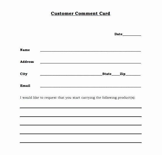 Restaurant Comment Card Template New Restaurant Ment Cards Free Restaurant Ment Card