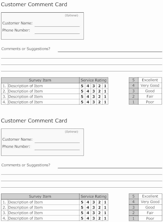 Restaurant Comment Card Template Unique 15 Ment Cards Template Steamtraaleren Borgenes