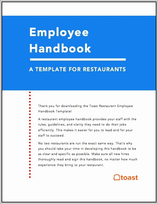 Restaurant Employee Handbook Template Beautiful Restaurant Employee Handbook Template Free Download