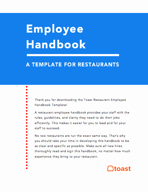 Restaurant Employee Handbook Template Best Of Restaurant Employee Handbook Template [free]