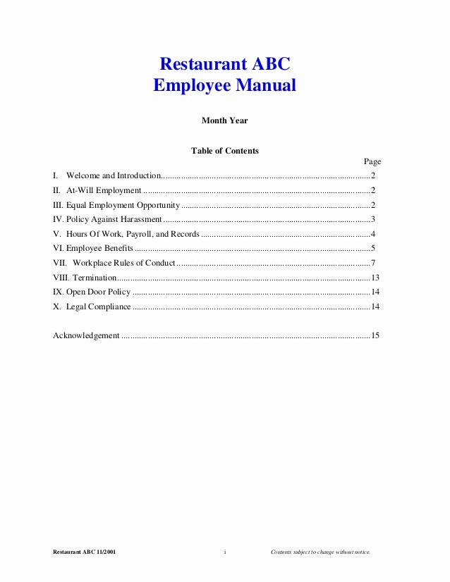 Restaurant Employee Handbook Template New 2001 Employee Manual