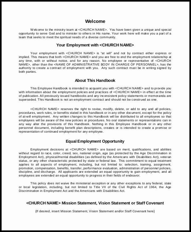Restaurant Employee Handbook Template New Free Employee Handbook Template Pdf Template Resume