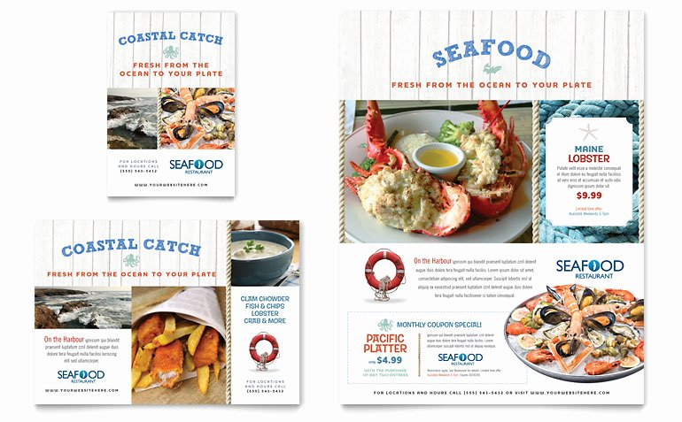Restaurant Flyer Template Free Awesome Seafood Restaurant Flyer & Ad Template Word & Publisher
