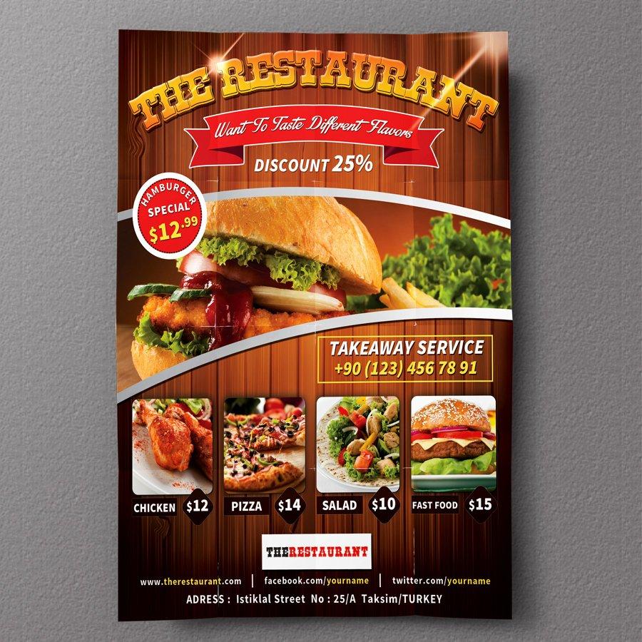 Restaurant Flyer Template Free Lovely Restaurant Flyer 01 Flyer Templates On Creative Market
