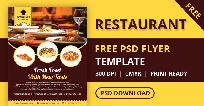 Restaurant Flyer Template Free New Free Restaurant Flyer Psd Template Designyep