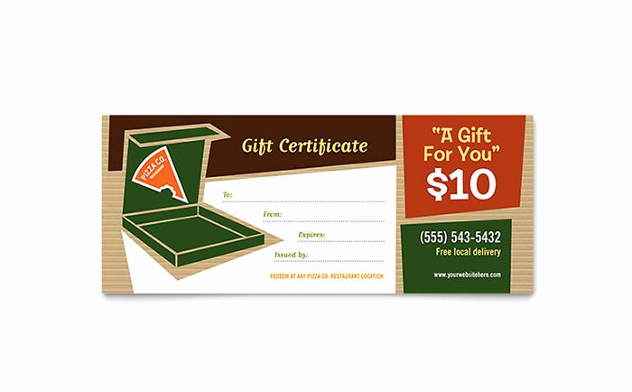 Restaurant Gift Certificate Template Awesome Pizza Pizzeria Restaurant Gift Certificate Template Word