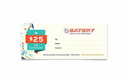 Restaurant Gift Certificate Template Elegant Free Gift Certificate Templates
