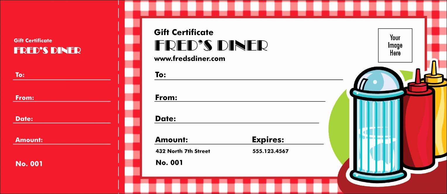 Restaurant Gift Certificate Template Inspirational Diner Gift Certificate