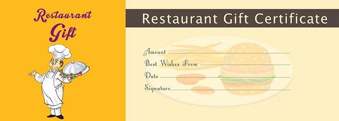Restaurant Gift Certificate Template Inspirational Restaurant Gift Certificate Template Free Gift