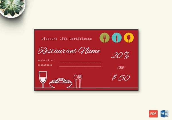 Restaurant Gift Certificate Template Inspirational Restaurant Gift Certificate Template Word – Doc formats