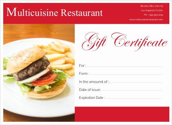 Restaurant Gift Certificate Template Lovely Printable Certificate Template 46 Adobe Illustrator