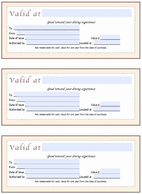 Restaurant Gift Certificate Template Luxury 13 Free Sample Restaurant Voucher Templates Printable