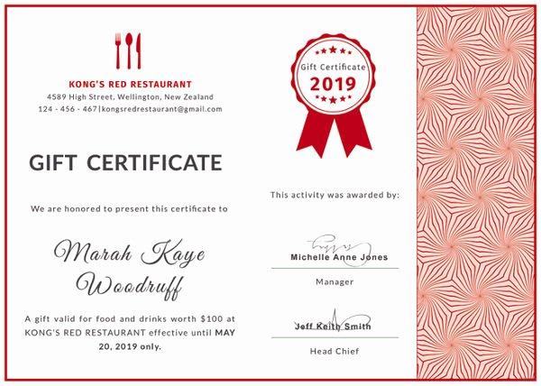 Restaurant Gift Certificate Template Luxury 20 Restaurant Gift Certificate Templates – Free Sample