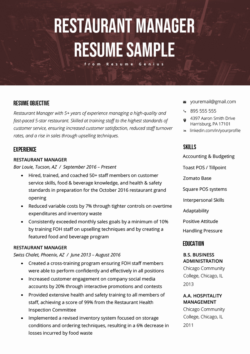 Restaurant Manager Resume Template Awesome Restaurant Manager Resume Sample & Tips