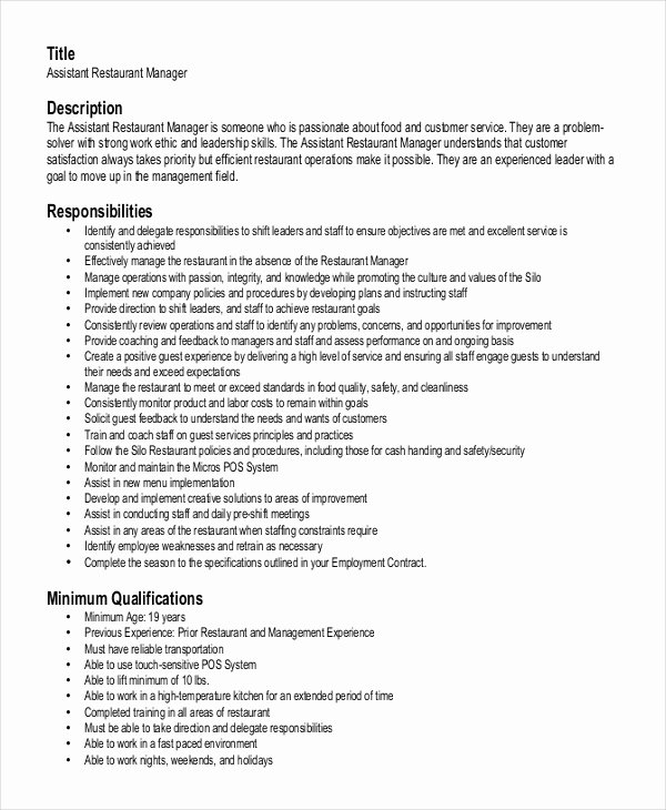 Restaurant Manager Resume Template Beautiful Restaurant Manager Resume Template 6 Free Word Pdf