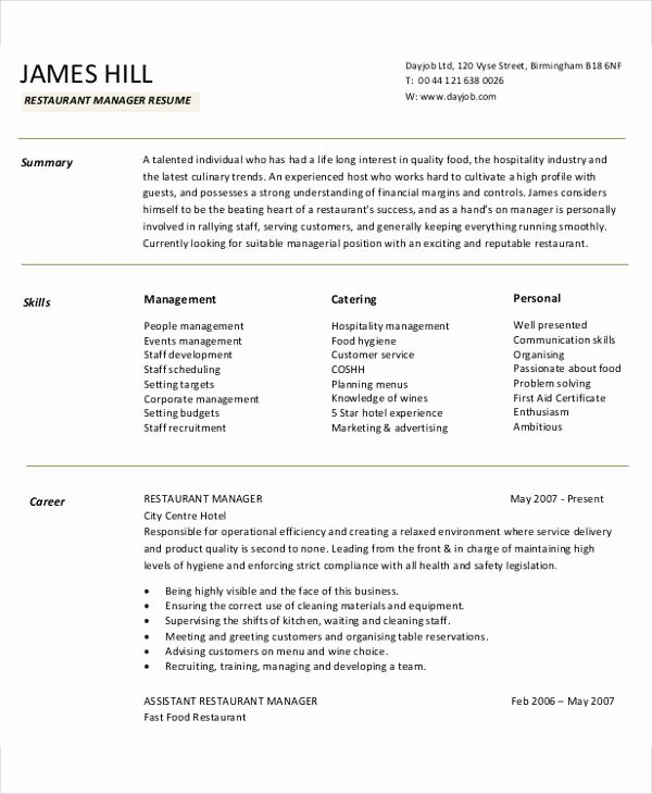 Restaurant Manager Resume Template Best Of 54 Manager Resumes In Pdf
