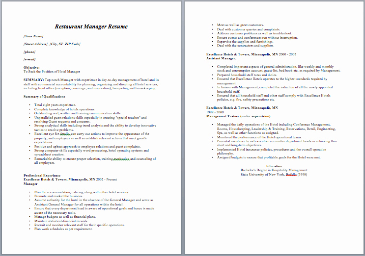 Restaurant Manager Resume Template Fresh Restaurant Manager Resume – Sample Resumes