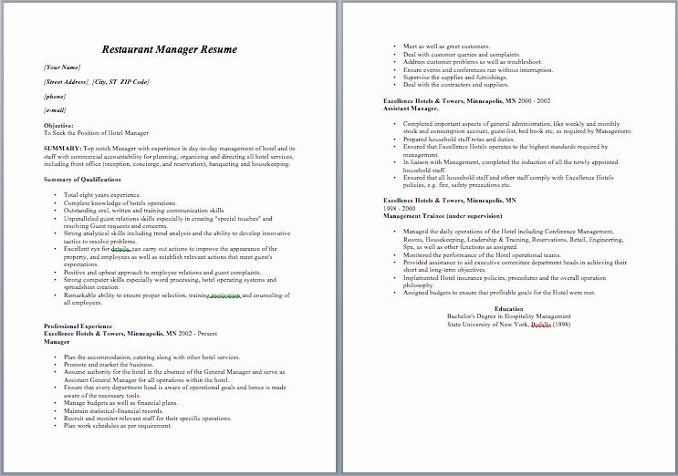 Restaurant Manager Resume Template Fresh Restaurant Manager Resume – Sample Resumes