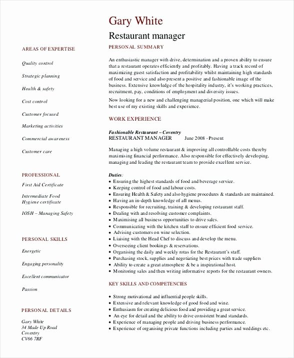 Restaurant Manager Resume Template Lovely Restaurant General Manager Resume Restaurant Manager