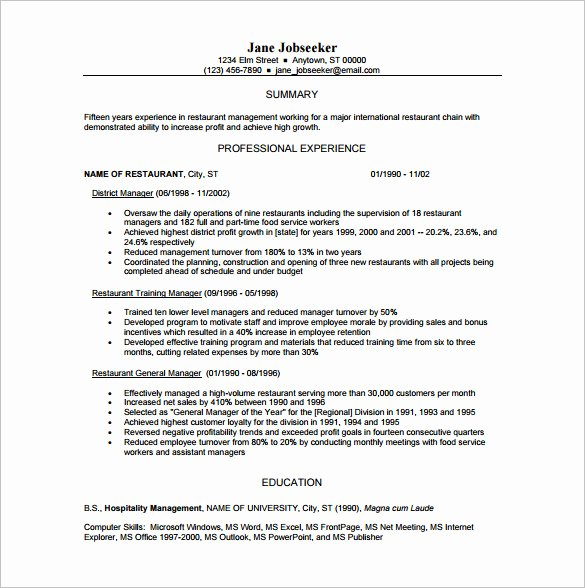 Restaurant Manager Resume Template New 15 Manager Resume Templates Doc Pdf